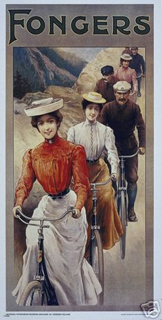 Vintage cycling ad.  Men & Women in their Sunday best taking a ride through the mountains on their bicycles.