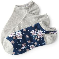 3-Pack Polka Dot, Floral & Solid Ankle Socks