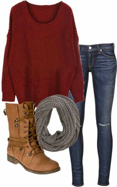 Red hand woven cardigan, jeans, scarf and army boots for fall