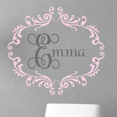 Pretty pink and gray personalized wall decal.