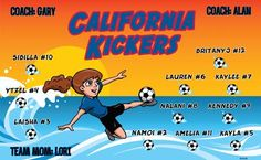 California Kickers B54508  digitally printed vinyl soccer sports team banner. Made in the USA and shipped fast by BannersUSA.  You can easily create a similar banner using our Live Designer where you can manipulate ALL of the elements of ANY template.  You can change colors, add/change/remove text and graphics and resize the elements of your design, making it completely your own creation.