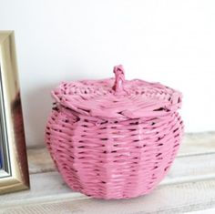 mini koszyk z pokrywką, pudrowy róż
