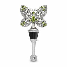 Urban Garden Jeweled Butterfly Wine Bottle Stopper by Epic Products. $19.99. Green rhinestone gems and rubber seal.. This polished chrome base stopper features a beautiful carved metal butterfly. Beautiful Butterfly Wine Bottle Stopper. Come fly with me! This polished chrome base stopper features a beautiful carved metal butterfly with green rhinestone gems and rubber seal.   Come fly with me!. Save 23%!