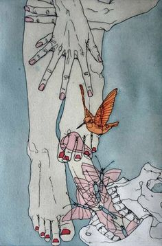 """Voluptuary (2007) etching with gouache and watercolor   9"""" x 6"""". by Phillip Dvorak"""
