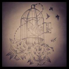 Birdcage tattoo - love the lightness