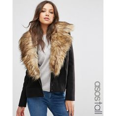ASOS TALL Biker Jacket with Oversized Faux Fur Collar ($55) ❤ liked on Polyvore featuring outerwear, jackets, black, asymmetrical zipper jacket, oversized jacket, faux fur collar biker jacket, asymmetrical zip jacket and tall biker jacket