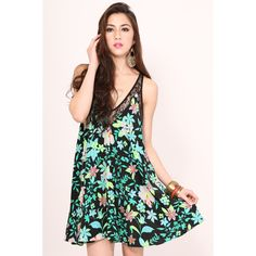 LOVERS + FRIENDS Hula Babydoll Dress - Electric Hibiscus - Backroom