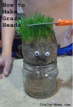 Your kids will love giving these DIY grass heads a hair cut. A great summer activity for kids!