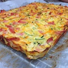 Tomorrow's lunchbox slice - vegetable and bacon: 6 eggs 1 large zucchini grated 1 carrot grated 1/2 onion finely diced 1/2 cup g...