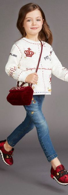 ON SALE !!! Love this DOLCE & GABBANA Girls Ivory LOVE Brocade Top, Embellished Jeans, Red Bag & Matching Shoes. Inspired by the Dolce & Gabbana Women's Fall Winter 2017-18 Collection. #kidsfashion #dg #dolcegabbana #girl #sale #fashion