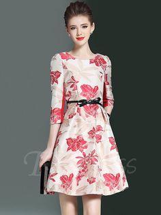 #TBDress - #TBDress Half Sleeve Invisible Zipper Womens Day Dress - AdoreWe.com