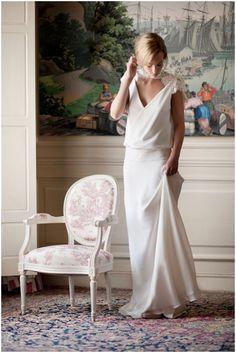 Robe de mariée bohème à manches courtes en dentelle blanche - Robe: Fabienne Alagama #bridaldress #bohemianbride #weddingdress