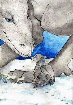 A quick sketch, quickly drawn and quickly colored, sized format. ~Anistria's blue and grey dragon as a hatchling meeting his mother Isolde in winter. Fantasy Dragon, Dragon Art, Magical Creatures, Fantasy Creatures, Fantasy World, Fantasy Art, Dragon Oriental, Cool Dragons, Dragon's Lair