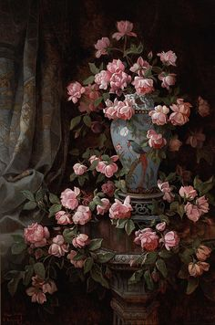Roses Artwork By Edwin Deakin Oil Painting & Art Prints On Canvas For Sale Victorian Paintings, Renaissance Paintings, Victorian Art, Renaissance Art, Aesthetic Painting, Aesthetic Art, Art Floral, Bel Art, Art Ancien