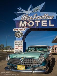 The Blue Swallow Motel on historic Route 66 in New Mexico. Just one of the great stops on a road trip along the Mother Road – ExplorationVacation Route 66 Road Trip, West Coast Road Trip, Travel Route, Travel Usa, Best American Road Trips, Blue Swallow Motel, New Mexico Road Trip, Historic Route 66, Best Vacation Spots