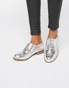 e50cc1632 London+Rebel+Silver+Brogues Oxfords Womens Outfits
