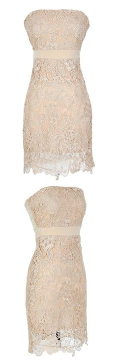 Ivory Cream Lace Strapless Cocktail Dress. Perfect for reception or rehearsal dinner!