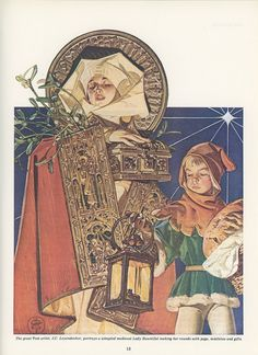 Christmas, Lady Bountiful And Page Bearing Gifts, J C Leyendecker, Saturday Evening Post,