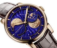 Most watches display the moon as seen in the northern hemisphere. Yet some watchmakers have presented watches with southern hemisphere representations or double moon phases, displaying simultaneously the moon phase as seen from both hemispheres – like recently ARNOLD AND SON with the HM DOUBLE HEMISPHERE PERPETUAL MOON.