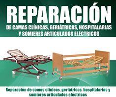 Reparación de camas articuladas. camas clínicas, camas geriátricas, camas hospitalarias, somieres, motores, carros elevadores, mandos, barandillas, lamas,