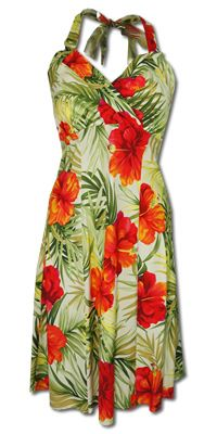 Napali Tangerine Hawaiian Dress, sexy Hawaiian dress, halter top Hawaiian dress, halter top dress, Hawaiian dress, sundress, floral dress