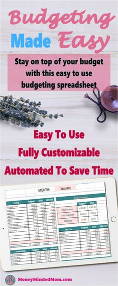 Budgeting Made Easy - Easy to Use Budget Spreadsheet. Are you tired of spending hours tracking your budget? Good news! This budgeting spreadsheet will save you tons of time every month. The Budgeting Made Easy spreadsheet is easy to use, fully cus Excel Budget, Monthly Budget Spreadsheet, Budget Binder, Budget Planner, Money Budget, Ways To Save Money, Money Saving Tips, Money Hacks, Money Tips