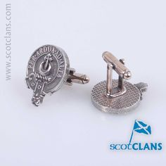 pewter cufflinks with Hannay clan crest from Scotclans