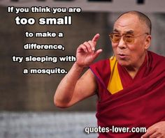 """If you think are too small to make a difference try sleeping with a mosquito.""  #Success #Change #Confidence #picturequotes  View more #quotes on http://quotes-lover.com"