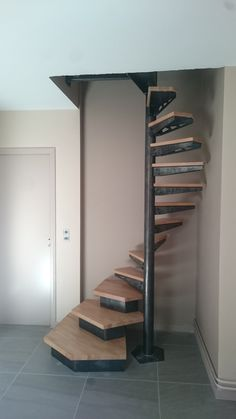 Spiral Stairs Design, Home Stairs Design, Home Building Design, Interior Stairs, Stairs For Tight Spaces, Small Space Stairs, Franklin Homes, Tiny House Stairs, Building Stairs