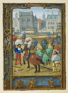 Calendar page for June with a tournament scene - From the Golf Book (Book of Hours, Use of Rome) - workshop of Simon Bening, Netherlands (Bruges) - c. 1540
