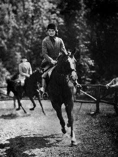 Jacqueline Bouvier riding her horse Danseuse in a horse show at Miss Porter's School.Farmington, Conneticut