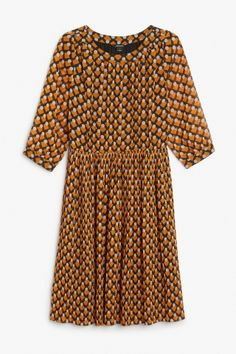 Monki Image 2 of Sheer pleated dress in Brown Light