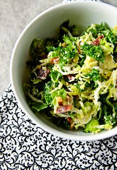 Kale, Brussels Sprout, & Bacon Salad.