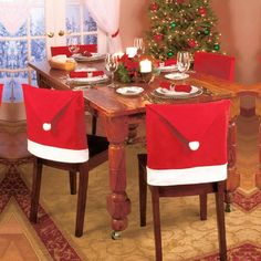 6pcs/lot christmas Chair Cover home decorations Supplies Santa Clause Hat Chair Covers New Year ornaments for Dining Table Home