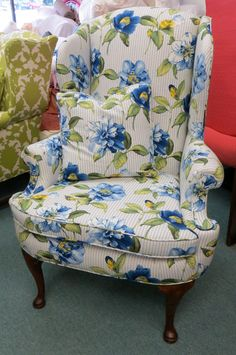 sam moore queen anne wingback chair in striped by