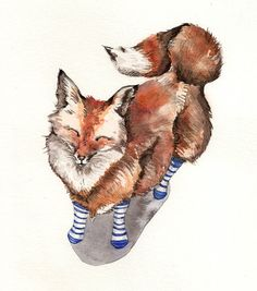 Smiling Red Fox in Blue Socks  Art Print of watercolor by Goosi, $15.00