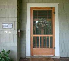 We are ready to buy a new front entrance door and screen door (not storm door) and I want to upgrade the looks of my front porch. Front Door With Screen, Old Screen Doors, Wooden Screen Door, Wooden Front Doors, Wood Doors, Barn Doors, Porch Doors, Entry Doors, Windows And Doors