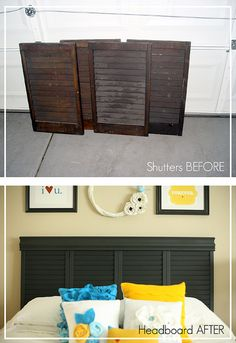 shutters --> headboard.  yes.    http://kikicreates.blogspot.com/2011/02/headboard-tutorial.html