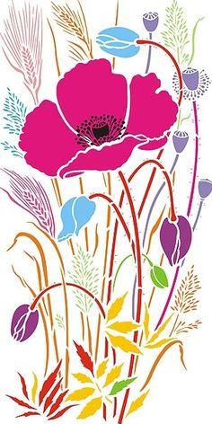 Stencils Poppy and Wild Grasses Stencil Poppies and Grasses Rose Stencil, Stencil Painting, Fabric Painting, Flower Stencils, Art Floral, Flower Shape, Flower Art, Cactus Flower, Wild Poppies