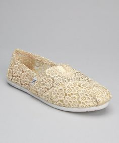 Take+a+look+at+the+Cream+Crocheted+Slip-On+Shoe+on+#zulily+today!