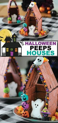 Do your kids enjoy making gingerbread houses? If they do, you HAVE to show them this idea from Smart School House! Halloween Peeps Houses are adorably spooky and creative. They are fun to make and fun to eat! Unlike traditional gingerbread houses we make at Christmas, the Halloween Peeps Houses are made with yummy wafers. Be sure to pin and save this for October! #halloween #hauntedhouse #peeps #crafts #kids #diy #fall Halloween Humor, Spooky Halloween, Halloween Peeps, Bonbon Halloween, Halloween Treats For Kids, Halloween Activities, Holidays Halloween, Halloween Kids Decorations, Happy Birthday Halloween