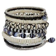Ten Turn Bead and Bone Bracelet - Black & White - CFM