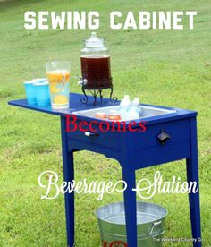 Seriously?!  Turn a sewing cabinet into a beverage station.  Brilliant!