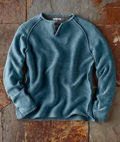 Inspired by the well-seasoned waterman that can surf sail dive and fish - Waterman Sweater from Camisa Polo, Henley Shirts, Men's Shirts, Mens Fashion, Fashion Outfits, Gentleman Style, Men Dress, Men Sweater, Mens Sweater Outfits