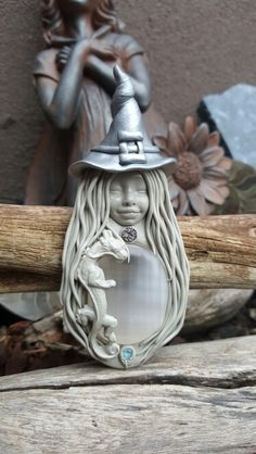 Dragon rider Steppi selinite crystal clay witch pendant handcrafted by Wakee's Wares on facebook ☺✌