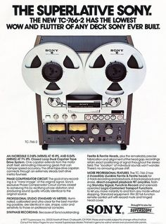 Vintage ad for 1977 Sony reel-to-reel tape deck - www.remix-numerisation.fr…