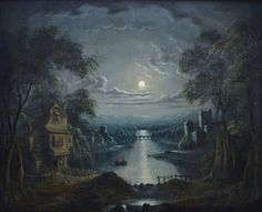 A River Scene by Moonlight - Sold
