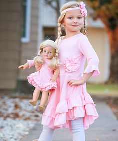 Look at this 4EverPrincess USA Strawberry Ice Ruffle Ella Dress & Doll Dress - Toddler & Girls on #zulily today!