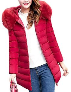 4195e01aba Cruiize Womens Winter Faux Fur Hooded Thick Slim Jacket Parka Coats Wine  Red XS Best Winter