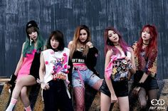 EXID share their thoughts about 'HOT PINK' comeback in the latest interview 4minute, Pink Skull, Album Covers, J Pop, Kpop Girl Groups, Korean Girl Groups, Kpop Girls, Hani, Pop Charts